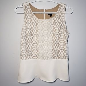 Ann Taylor Embroidered Floral Peplum Tank Top